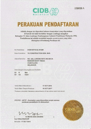 Certificate of Registration - CIDB G7
