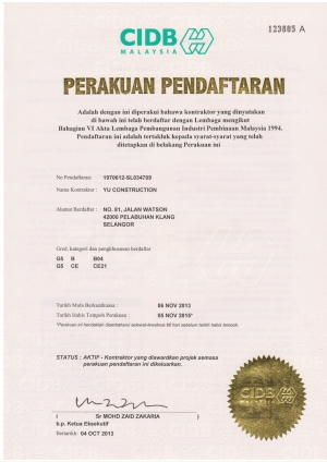Certificate of Registration - CIDB G5